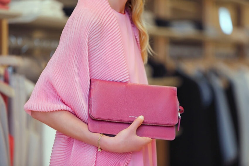 Agnona pink sweater and handbag